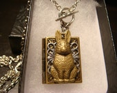 Victorian Style Easter Bunny Rabbit Book Locket Necklace (1889)