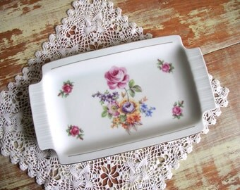 Vintage Colditz Pottery Regtangular Rose Serving Dish / Sandwich Cookie Tray or Trinket Tray / German Democratic Republic /  East Germany