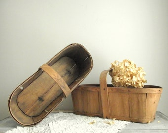 Vintage Orchard Baskets / Wood Berry Baskets / Fruit Gathering Baskets / Market Baskets / Farmhouse Decor /Shabby Cottage Chic