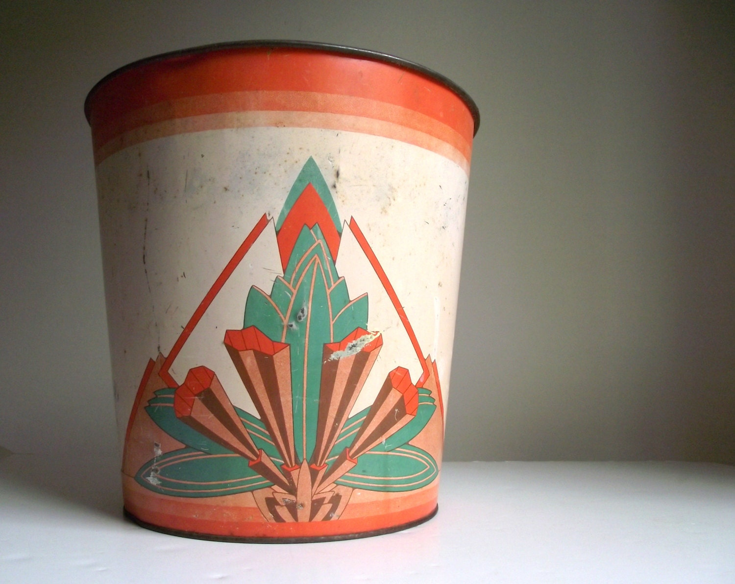 Art deco waste paper basket empeco metal vintage by for Art from waste paper
