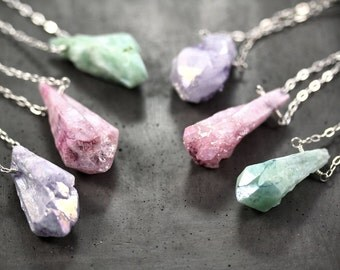 Rock Candy Raw Quartz Layering Necklace, Pastel Lavender, Mint Green or Pink Mystic Quartz Point Sterling Silver Long Chain Necklace