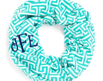 Infinity Scarf in Aqua Greek Key
