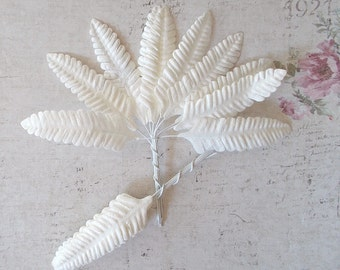 20 White Fern Paper leaves for Scrapbooking, Card Making, Mixed Media, Mini Album