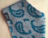 Bandana Bib in Vintage Teal & Gray Knit Paisley, Dribble Bib, Baby Girl