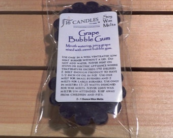 Grape Bubble Gum Scented Soy Wax Tart Melts - 2 Pack