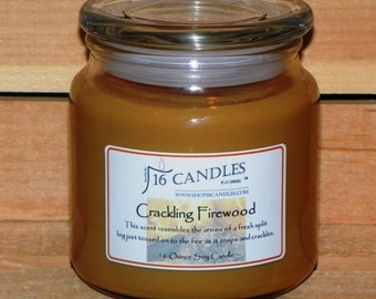 Crackling Firewood Soy Candle ~ 16 Ounce Jar ~ Masculine Fragrance ~ Split Wood Fragrance ~ 16 Candles by J.P. Lawrence
