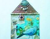 Mixed Media Bird Collage Art, Green and Blue Wall Art, Birdhouse Design Artwork