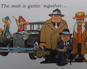 4 Unused Vintage Hallmark The Mob Is Gettin' Together Gangster Party Invitation Cards