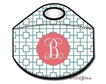 SQUARES REVERSE monogrammed lunch tote - with customizable pattern and monogram
