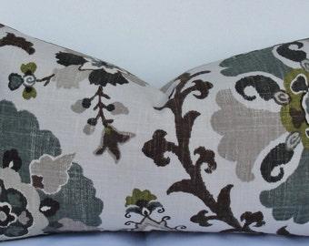 Teal Brown SUZANI Decorative Pillow Cover Designer Throw Pillow oyster jade on natural linen - Accent pillow lumbar pillow Rhinestone