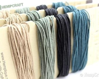 Hemp Twine, Green Brown Camo Color Card 1mm Hemp Craft Cord