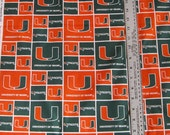 University of Miami Collegiate Block Print Cotton Fabric
