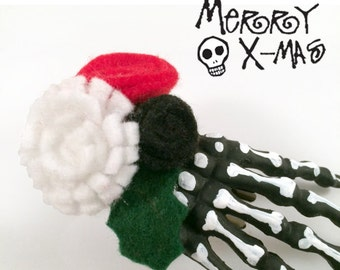 Jack Skeleton Skeleton Hand Hair Clip  Gothic Christmas Gothic Lolita // pair of clips