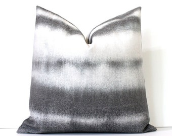 Grey Dip Dye Decorative Designer Pillow Cover accent throw cushion gray abstract tie dye shibori boho ombre watercolor black charcoal fog