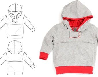 Kids rustic hoodie pattern // pdf download // snap tab // photo tutorial // 0M-6T // #35