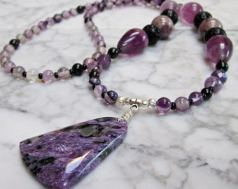 Spiritual Traveller - Natural Violet Stone and Crystal Crown Chakra Balancing Necklace with Russian Charoite Pendant