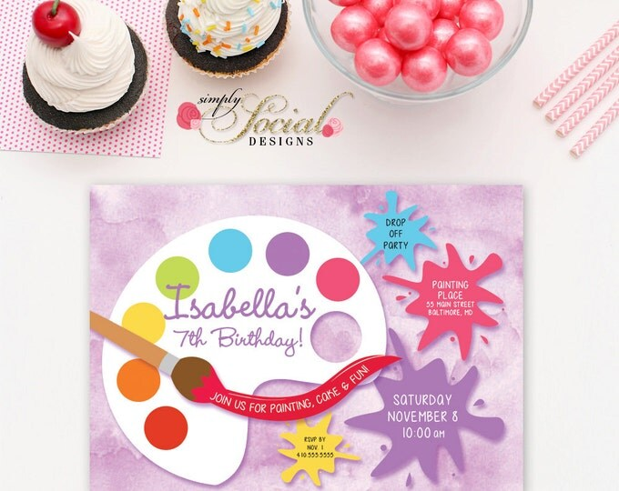 Painting Art Birthday Party Invitation with Paint Watercolor Background