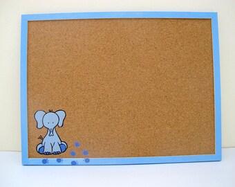 Decorative Memo Cork Board- Children baby blue elephant hand painted message board, Bulletin Board, kids cork board