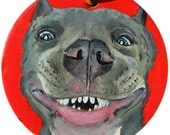 Custom Painted Pit Bull Ornament Dog Christmas Gift
