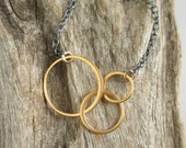 Mixed Metal Necklace Infinity Circle Necklace Silver and Gold