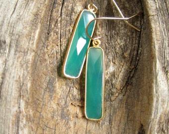 Green Agate Bar Earrings Long Gemstone Drops 14K Gold Fill