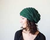 Emerald green Slouch hat, Slouch knit hat for women, Emerald green Beanie Hat, Oversized hat, Green knit hat women, Slouch Knit Beanie