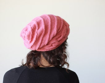 Rose pink Slouch hat women, Slouch knit hat for women, Rose pink Beanie Hat, Oversized hat womens, Rose knit hat women, Slouchy hat beanie
