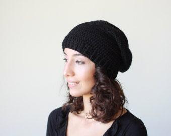 Black Winter hat, Black Crochet Hat for Women, Black Slouch Hat, winter trend slouch hat women, slouch black hat womens