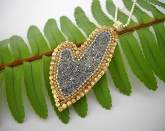 Grey long heart pendant Sterling Silver long heart pendant necklace, Grey gold long heart pendant, asymmetric long heart pendant necklace