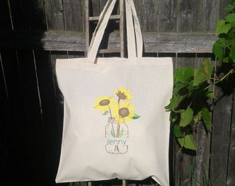 Bridesmaid Tote Bag - Flower Girl Tote - Wedding Welcome Bag - Sunflower