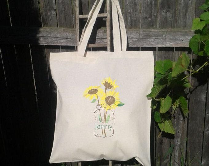 Bridesmaid Tote Bag - Flower Girl Tote - Wedding Welcome Bag - Sunflower