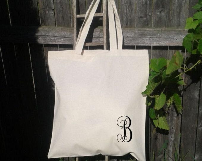 Monogram Initial Tote Bag - Bridesmaid Gift Bags - Welcome Bags for Wedding -You choose letters- Custom Tote Bags-Flower Girl