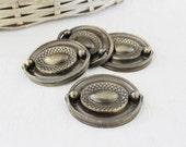 Four Vintage Drawer Pulls, Aged Brass