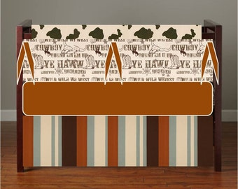 Western Crib bedding, Rustic Nursery Bedding, Cowboy Crib Bumper,  Baby Boy Baby Gril Crib Bedding Brown Burnt Orange Rust