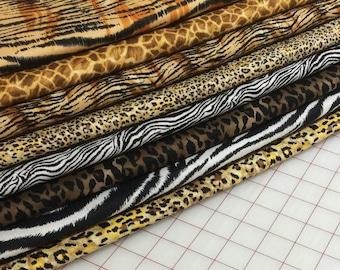 8 Fat Quarters - It's A Jungle Out There -  Animal Skin Quilt Fabric - Tiger, Giraffe, Zebra, Cheetah etc.