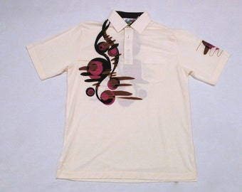 London Fog Polo Shirt Vintage 1990s Mod Psychedelic Polo T Shirt Mens Large Geometric Golf or Tennis Collared Shirt Preppy Top