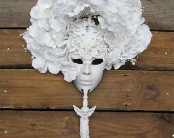 one of a kind, Ice Queen, Winter Mask, Ice, ooak, handmade, costume snow queen mask, white on white