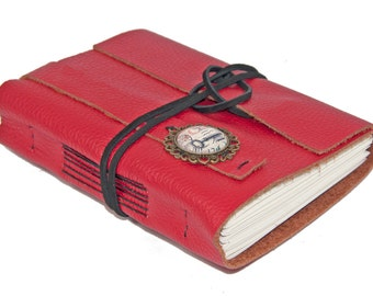 Red Leather Journal - Blank Pages - Bound Journal - Travel Journal - Prayer Journal - Red Journal - Ready to Ship -