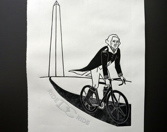 George Washington DC Bike Linocut Print