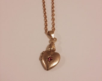 Tiny Vintage Heart Locket With Pink Rhinestone, Gold Tone