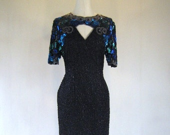 Green & Blue Floral Sequin Keyhole Evening Dress Glam