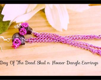 Skull Earrings, Day of the Dead Black n Hot Pink Chain Skull n Roses Dangle Earrings , Hnadmade By: Tranquilityy