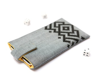 Microsoft Lumia 950, Lumia 950 XL sleeve case cover pouch handmade with magnetic closure light jeans and yellow with black ornament pattern