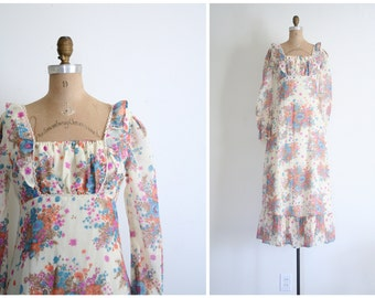 floral print gauze maxi dress - vintage 60s . 1970s / Virgin Suicides - summer festival / 1960s - 70s hippie wedding