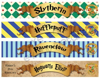 Harry Potter Inspired - Hogwarts PRINTABLE Water Bottle Labels - Hogwarts Birthday - Harry Potter wedding - custom water bottle labels