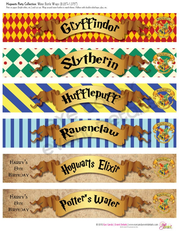 Harry Potter Inspired Hogwarts PRINTABLE Water Bottle Labels - Birthday invitations harry potter printable