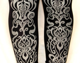 Art Nouveau Print Tights Silver on Black Small Medium Fashion Metallic Legwear Winter Steampunk Dolly Kei