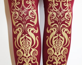 S M Art Nouveau Printed Tights Small Medium Gold on Burgundy Bordeaux Wine Cranberry Oxblood Berry