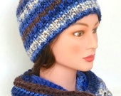 BEAUTIFUL winter set: SCARF and HAT. Variegated colors in blue, white, brown. Fringe. Crocheted scarf. Knitted hat. Adult set.