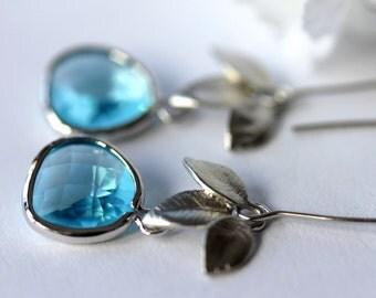 Aquamarine Earrings, Chandelier Earrings, Dangle Earrings, Drop Earrings, Long Earrings, March Birthstone, Bridal Jewelry, Mother's Day Gift